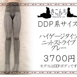 DDP/50cmドールサイズ ハイゲージタイツ ニットストライプ グレー