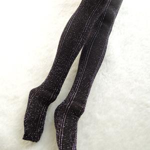 【1点もの】50cmドール向け ハイゲージタイツ ラメストライプ ブラック×ピンク[this stocking is one-of-a-kind]
