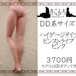 【last1】DD系サイズ ハイゲージタイツ ピンストライプ ピンク