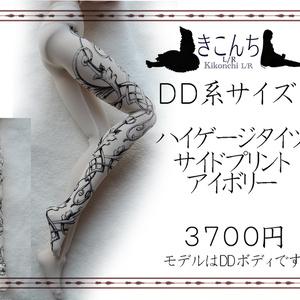 【last1】DD系サイズ ハイゲージタイツ サイドプリント アイボリー
