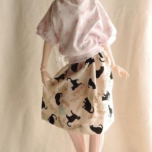 オビツ50~DD系サイズ ミモレスカート レトロスタンプ黒猫 カプチーノ色