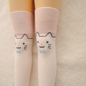 【再販準備中】1/3級向け ニーソックス オリジナルプリント 白猫ver.2