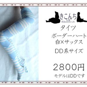 last1 DD系サイズ タイツ ボーダーハート 白×サックス