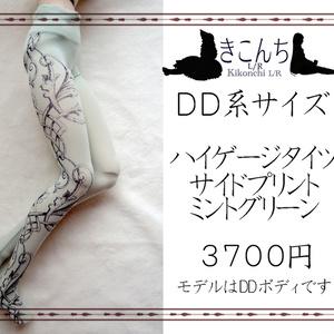 last1【9月新作】DD系サイズ ハイゲージタイツ サイドプリント ミントグリーン