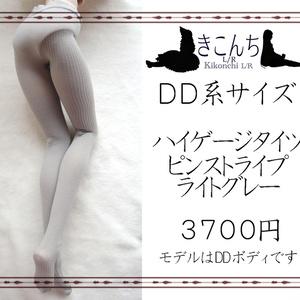 【9月新作】DD系サイズ ハイゲージタイツ ピンストライプ ライトグレー