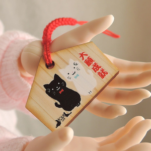 ドール用絵馬 黒猫&白猫