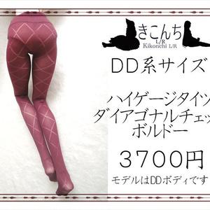 [12月新作] DD系サイズ ハイゲージタイツ ダイアゴナルチェック ボルドー