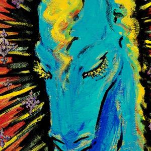 【スマホ壁紙画像附キ.】[ 煌く碧き午 ]アクリルスマホスタンド(スマート/コード穴).