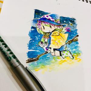 【イラスト原画】窓の外の魔女