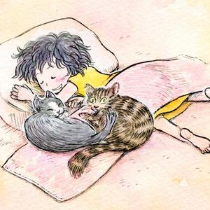 眠るメイとネコ(メイと牧場のどうぶつたちより)