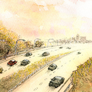 夕陽の風景~高速道路、街へ帰る