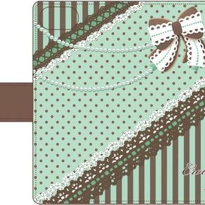 チョコミントスマホカバー(茶ドット)