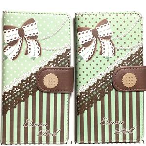 チョコミントスマホカバー(白ドット)