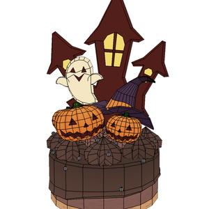 (3Dモデル)ハロウィン・ケーキ