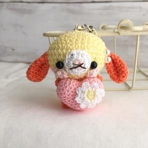 【受注生産】ピンクハート・オレンジ系ロップイヤーうさぎさん*鈴付きイヤホンジャックストラップ