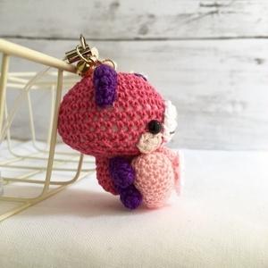 【受注生産】ピンクハート・パッションピンク&濃紫色ネコさん*鈴付きイヤホンジャックストラップ