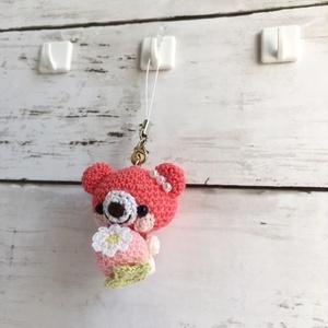 【受注生産】ピンクイチゴ・コーラルピンク系クマさん*鈴付きイヤホンジャックストラップ