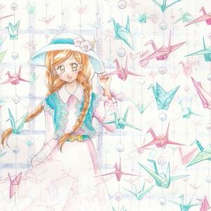 ◆【イラスト原画】折り鶴の回廊
