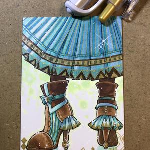【イラスト原画】チョコミントのブーツ