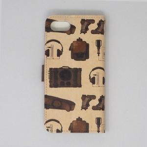 手帳型iphone7、8対応ケース-スチームパンク柄