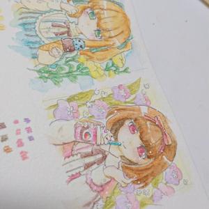 「いちごチョコ」ミニ額縁原画