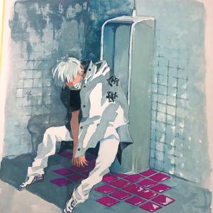トイレと男の子(色紙)