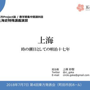 【無料DL】上海:時の潮目としての明治十七年(第4回東方発表会プレゼン)