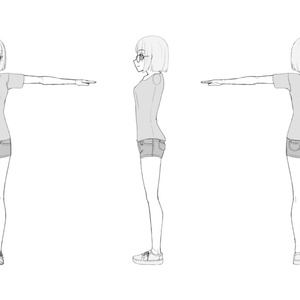 【無料】モデリング用三面図素体&素材 Ver.0.4