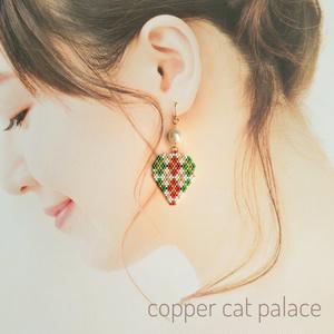 クリスマス☆アーガイル ピック型 ピアス / イヤリング