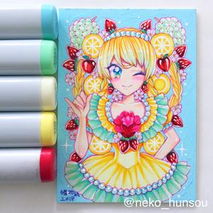 直筆額装原画 レモンの花のお嬢さん