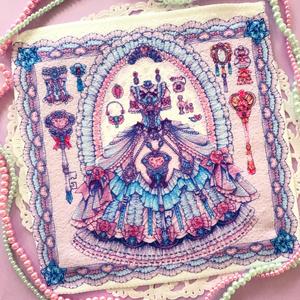 キラキラ宝石ドレスのミニハンカチタオル