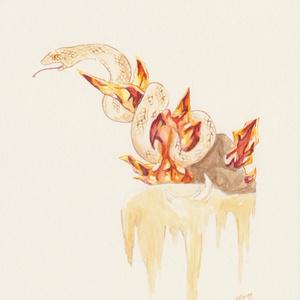 水彩原画:ほのおのへび