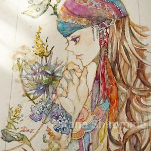 秘めたるは花か恋【水彩原画】