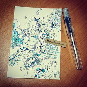 海神さまの娘さん【ペン原画】