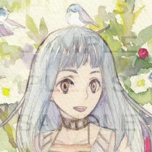 ミニ原画 山茶花と小鳥