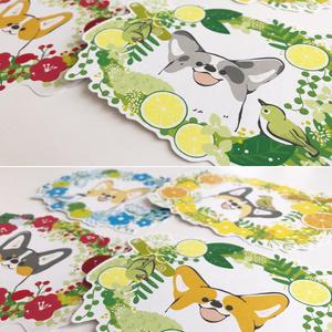 コーギーと鳥とお花のメッセージカード