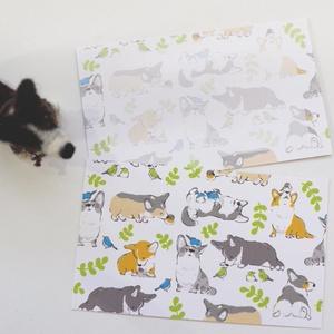コーギーと野鳥のメッセージカード