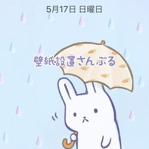 まな板うさぎ「梅雨」テーマ壁紙
