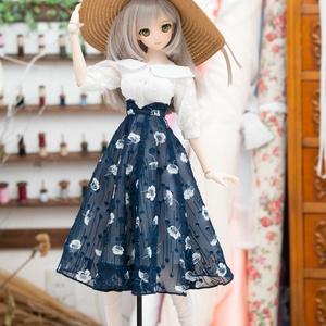 DD・DDSサイズ ジョーゼットフレアスカート(紺)