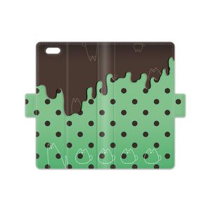 ネコチョコミント 手帳型iPhoneケース