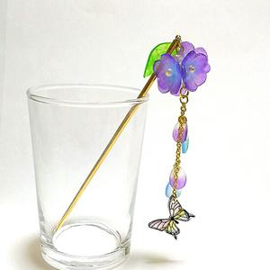 【男士追加】花手毬と硝子蝶のかんざし