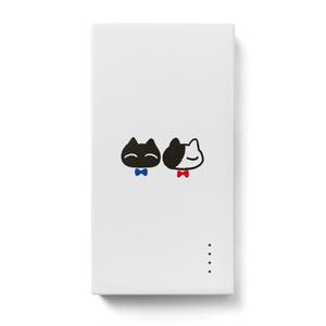 モバイルバッテリー【猫リボン柄A】