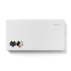 モバイルバッテリー【猫リボン柄B】