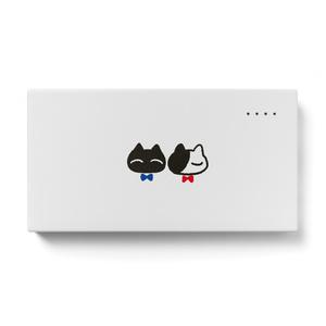 モバイルバッテリー【猫リボン柄C】
