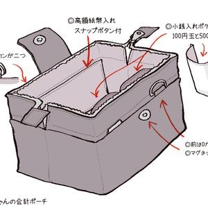 【会計ポーチ】グレーストライプver.02(カレイドスコープ)