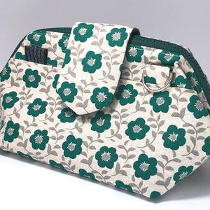 【会計ポーチ】緑の花柄