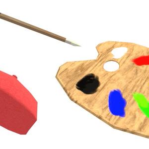 画家セット(ベレー帽、パレット、絵筆)