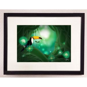 額入りイラスト141-緑の楽園