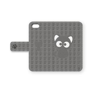 黒猫りっちー君手帳型iPhoneケース(グレー)
