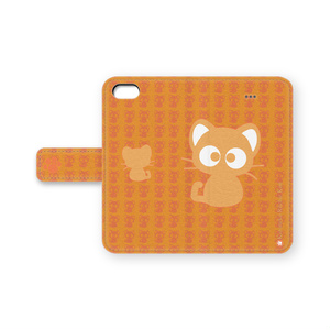 黒猫りっちー君手帳型iPhoneケース(オレンジ)